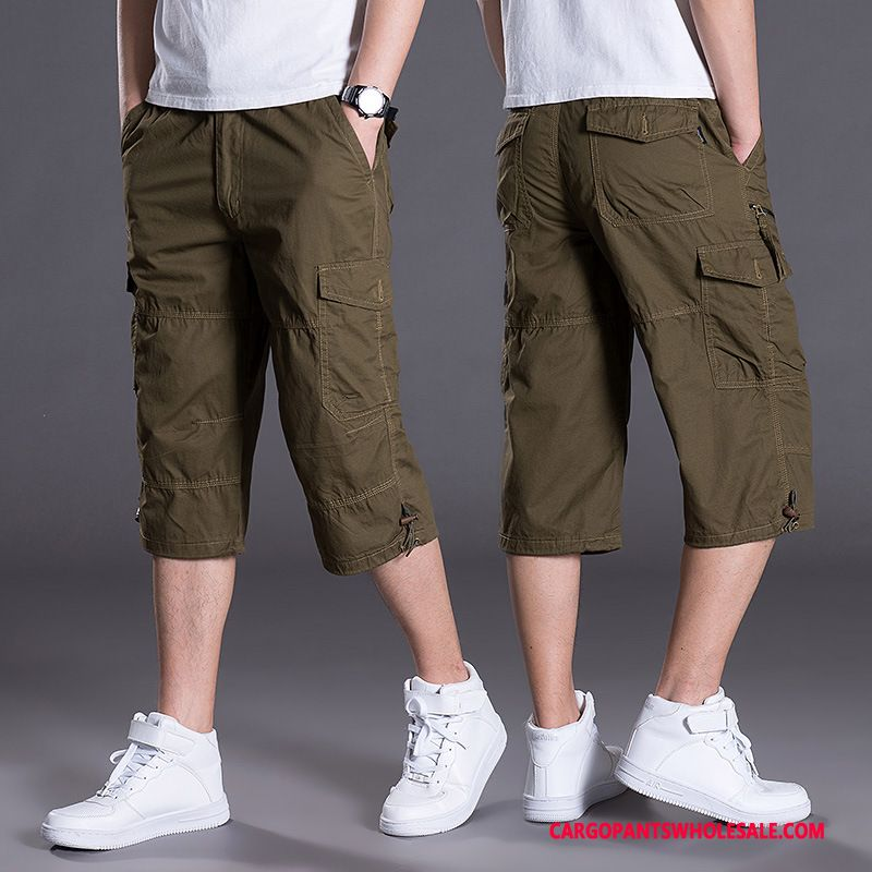 Capri Pants Male Army Green Big Multiple Pockets Men Leisure Cargo Pants Summer