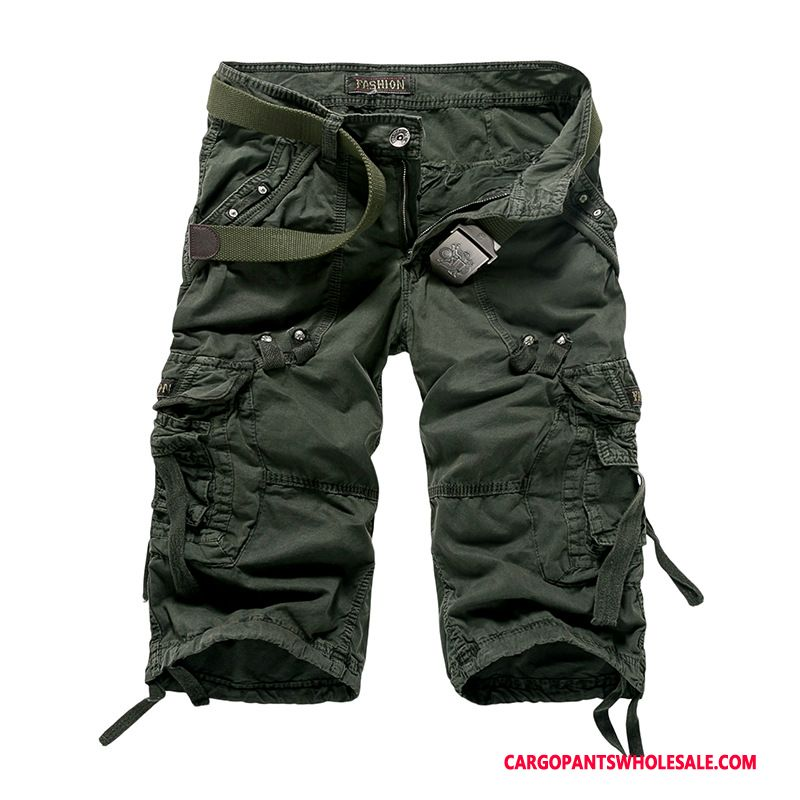 Capri Broek Mannelijk Leger Groen Zwart Shorts Outdoor Heren Meer Zakken Rechtdoor Cargo