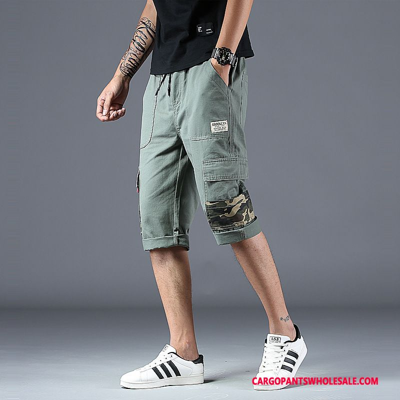 Capri Pants Male Army Green Cargo Pants Straight Tether Outdoor Casual Pants