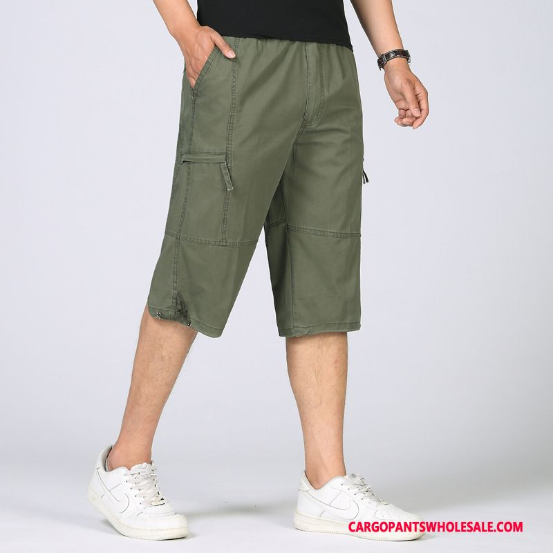 Capri Pants Male Army Green Casual Pants Capri Pants Cargo Pants Cotton Plus Size
