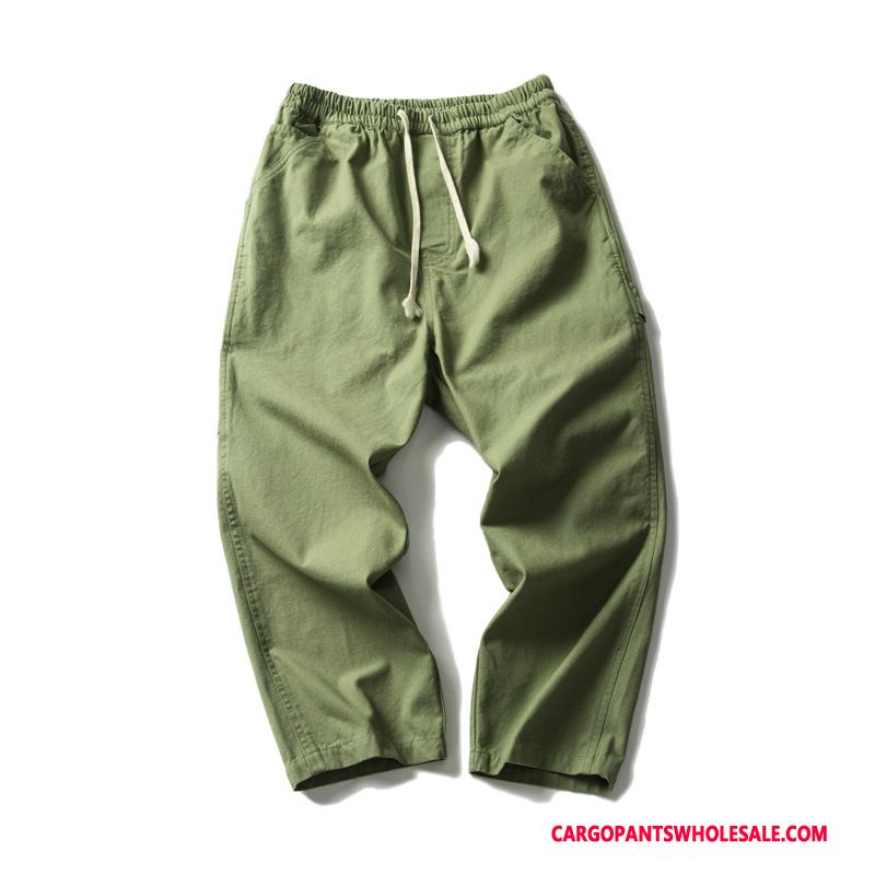 Capri Pants Male Army Green Green Casual Pants Capri Pants Summer Shorts Tide