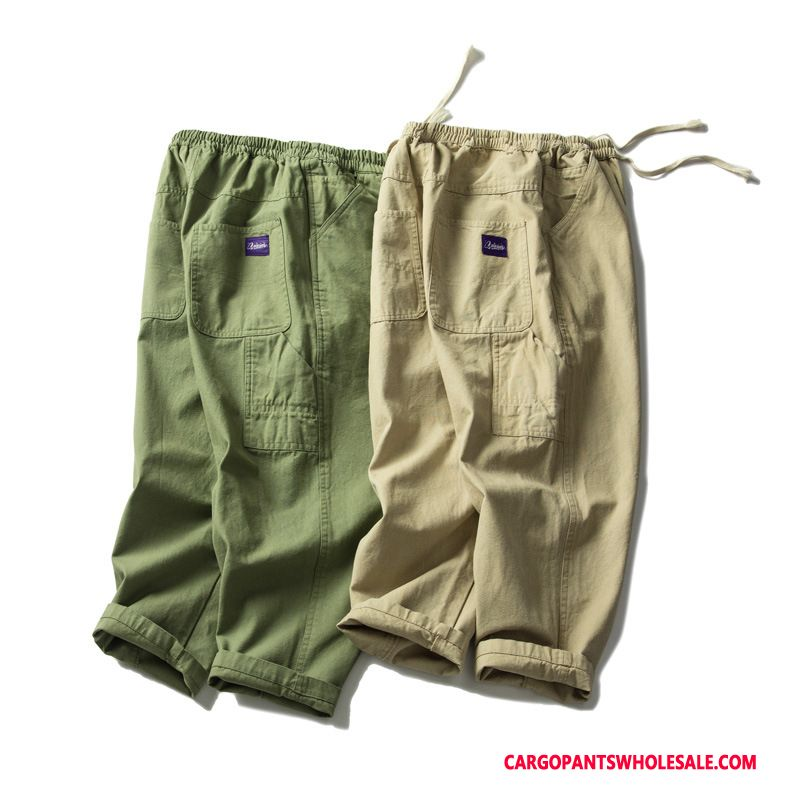 Capri Pants Male Army Green Green Casual Pants Capri Pants Summer Shorts Tide