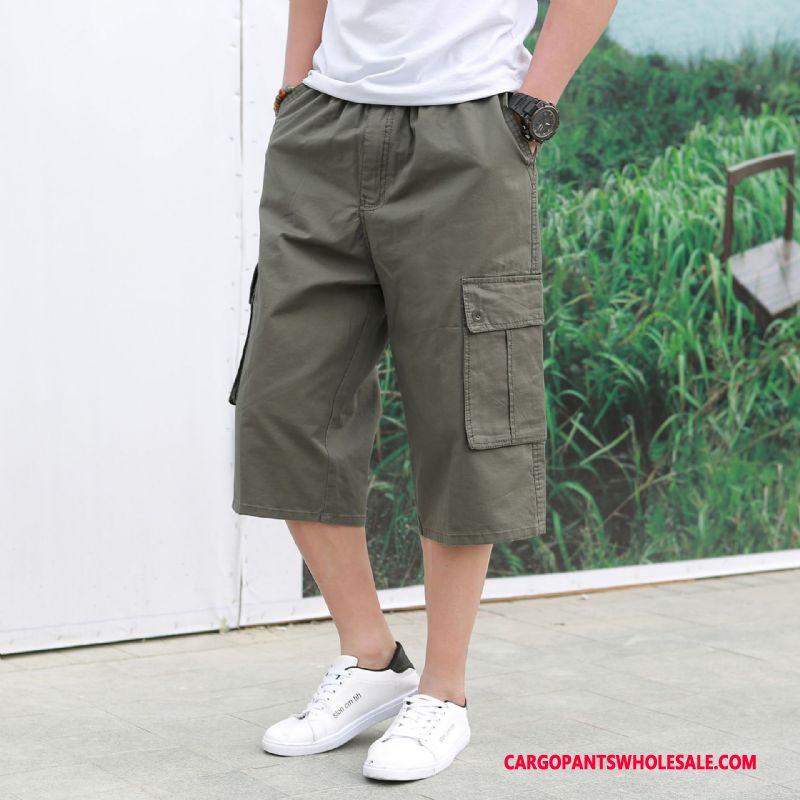Capri Pants Male Army Green Green Trend Shorts Summer Multi-pocket Leisure