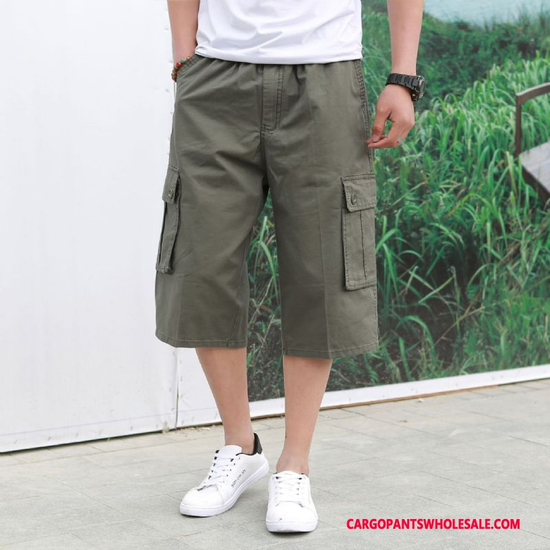 Capri Pants Male Army Green Green Trend Shorts Summer Multi-pocket Leisure