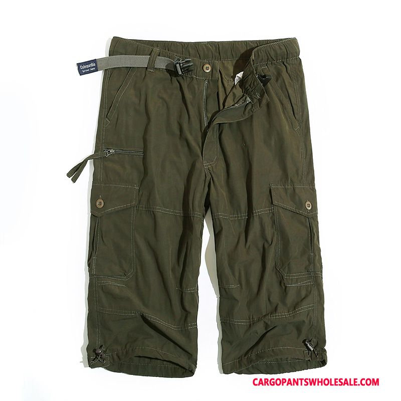 Capri Pants Male Army Green Plus Size Shorts Loose Cargo Pants