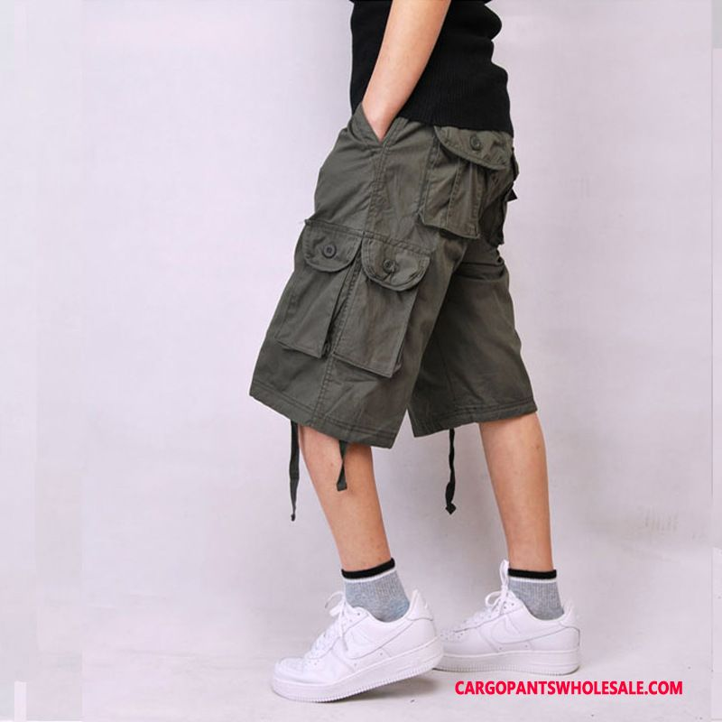 Capri Pants Male Army Green Selling Medium Pants Shorts Large Size