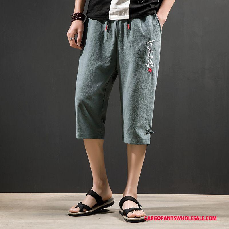 Capri Pants Male Army Green Thin Section Loose Leisure Capri Pants Large Size