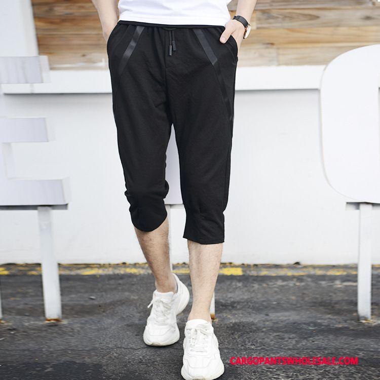 Capri Pants Male Black Capri Pants Elastic Force Men Shorts Loose The New