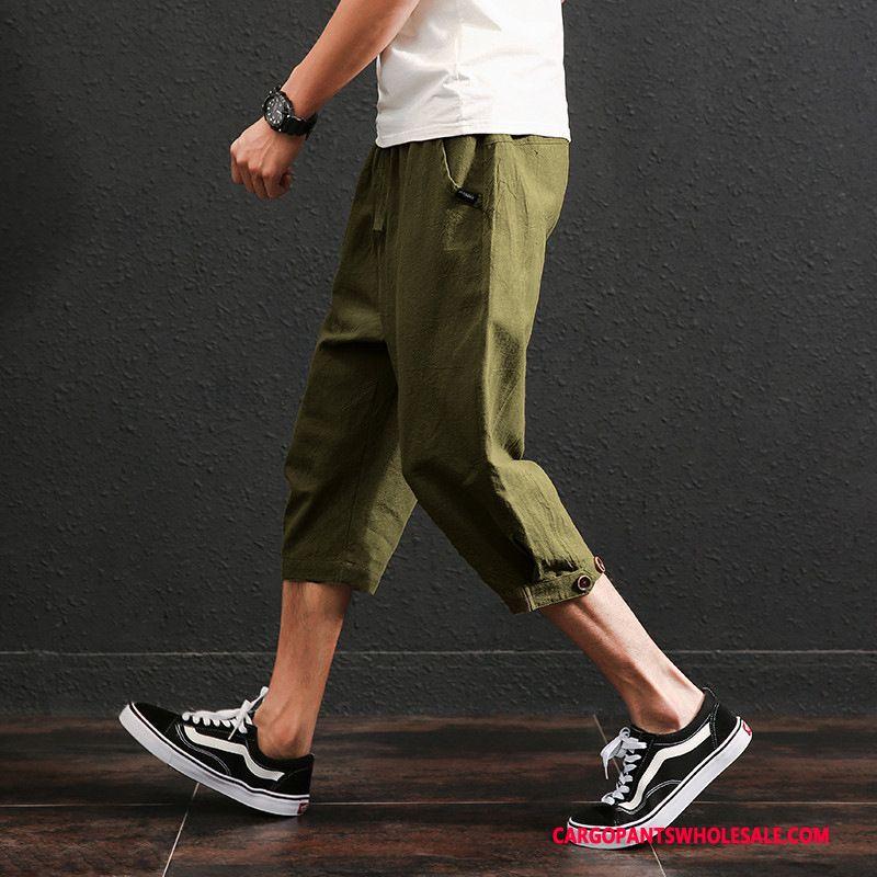 Capri Pants Male Black Cotton And Linen Thin Section Retro Loose Capri Pants