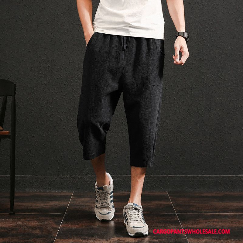 Capri Pants Male Black Cotton And Linen Thin Section Retro Loose Capri Pants