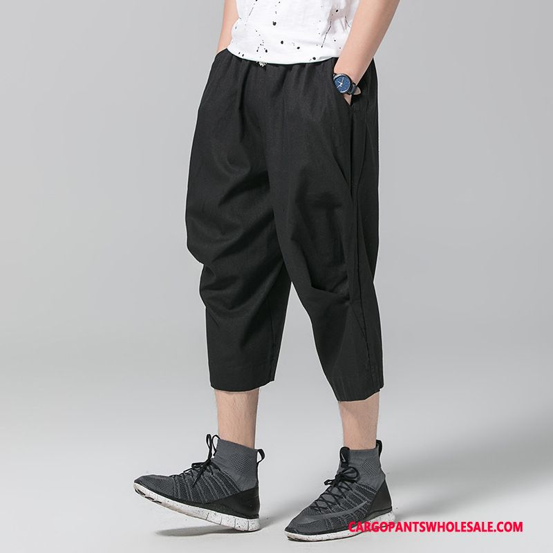Capri Pants Male Black Green Pants Cotton And Linen Men Capri Pants Thin Section Summer