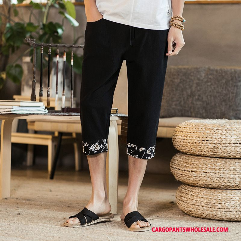 Capri Pants Male Black Green Pants Fat Man Men Small Summer Capri Pants