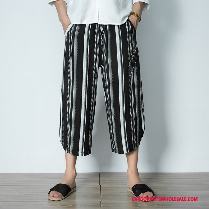 Capri Pants Male Black Green Pants Stripe Capri Pants Loose Leisure