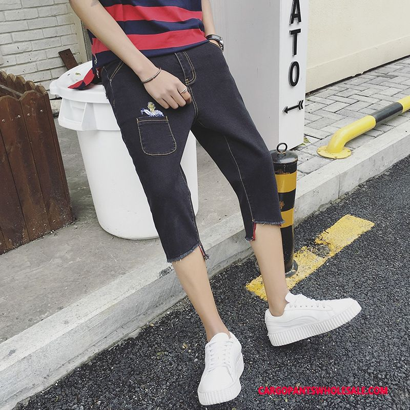 Capri Pants Male Black Green Skin Summer Jeans Personality The New