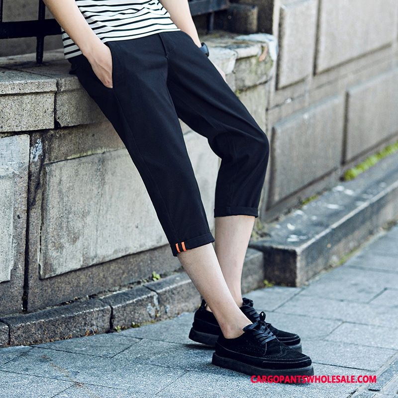 Capri Pants Male Black Green Slim Fit Solid Color Men Casual Pants Tide Capri Pants