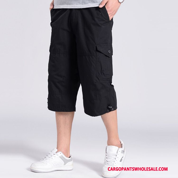 Capri Pants Male Black Green Straight Shorts Men Pants Casual Pants Medium