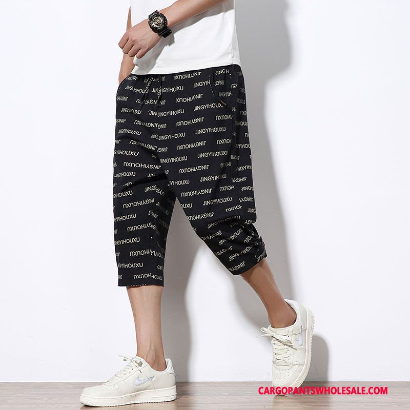 Capri Pants Male Black Letter Capri Pants Men Loose The New Cargo