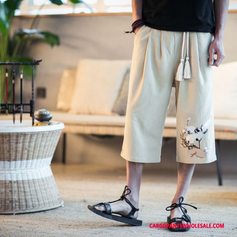 Capri Bukser Mænd Sort Salg Kinesisk Stil Sommer Bukser Mode