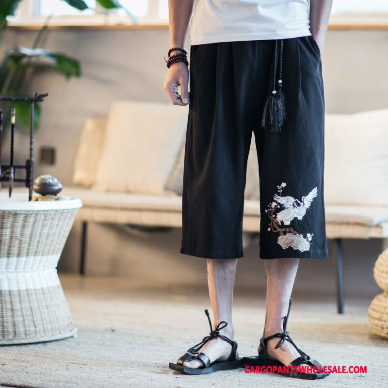 Capri Pants Male Black Linen Chinese Style Pants Summer Fashion