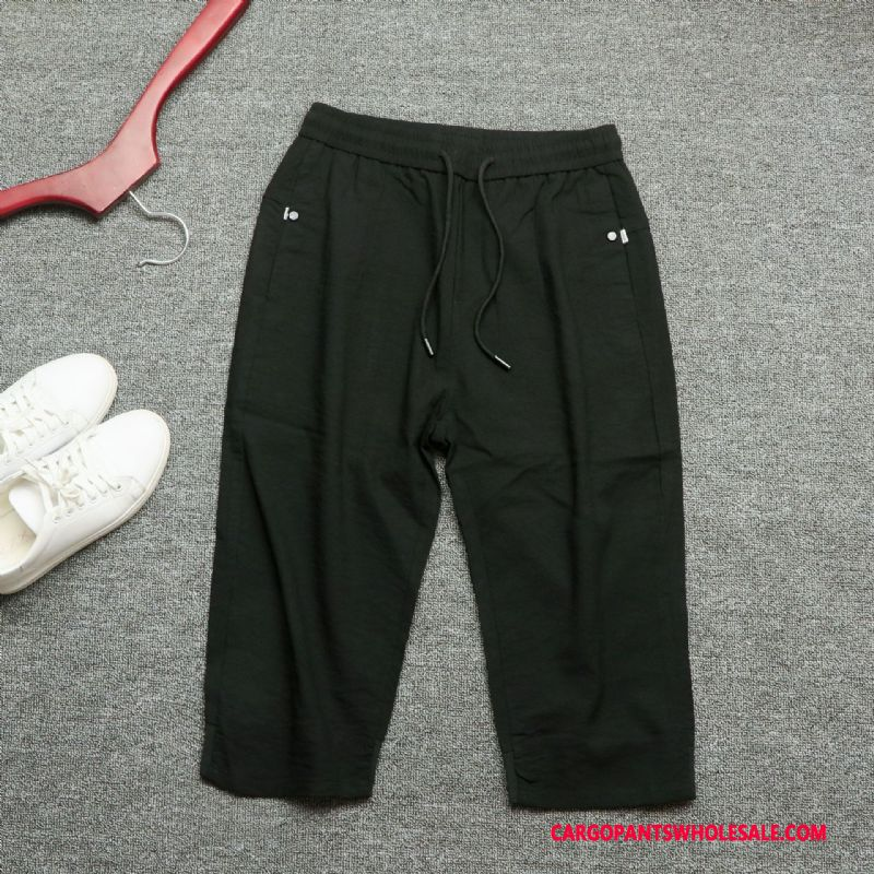 Capri Pants Male Black Pants Cotton And Linen Casual Pants Fashion The New