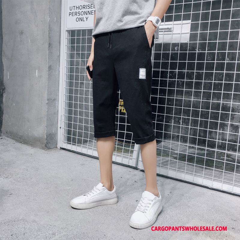 Capri Pants Male Black Pants Trend Men Capri Pants Loose Summer