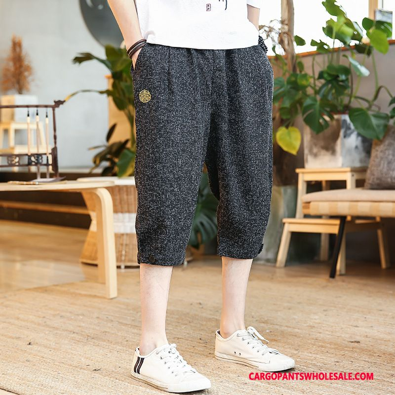 Capri Pants Male Black Plus Size Trend Capri Pants Linen Summer