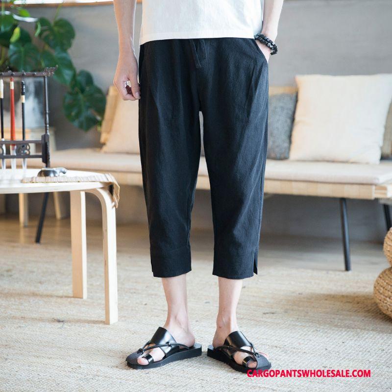 Capri Pants Male Black Shorts Linen Men Cotton And Linen Leisure Pants