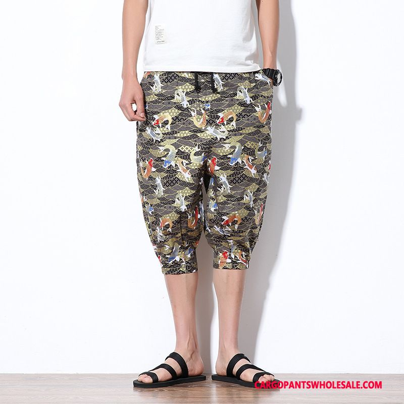Capri Pants Male Black Shorts Pants Men Capri Pants Chinese Style Thin Section
