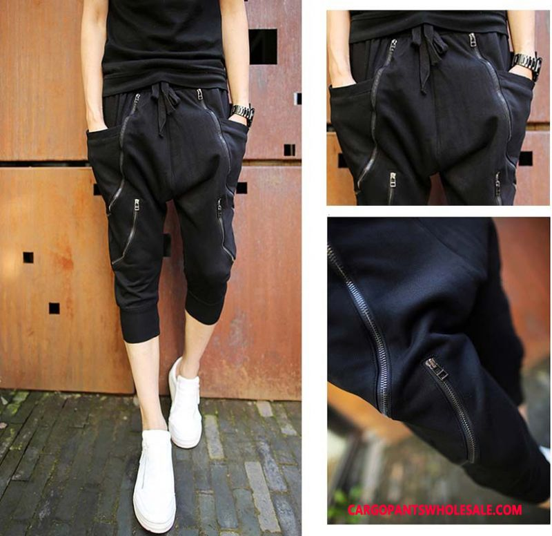 Capri Pants Male Black Small Harlan Men Leisure Loose Zipper