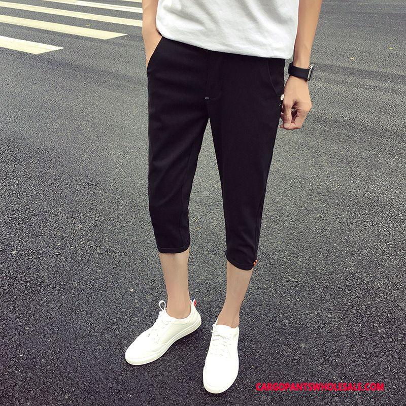 Capri Pants Male Black Solid Color Leisure Men Capri Pants Summer Slim Fit