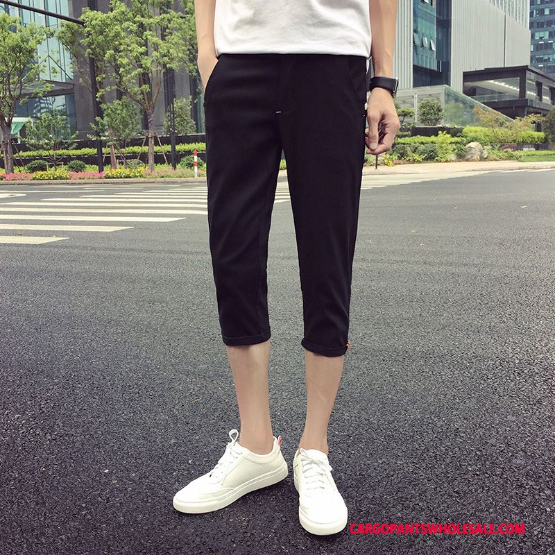 Capri Pants Male Black Solid Color Leisure Men Capri Pants Summer Slim Fit