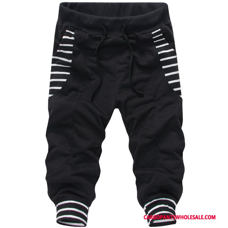 Capri Pants Male Black Stripe Pants Men The New Sweatpants Beam Foot