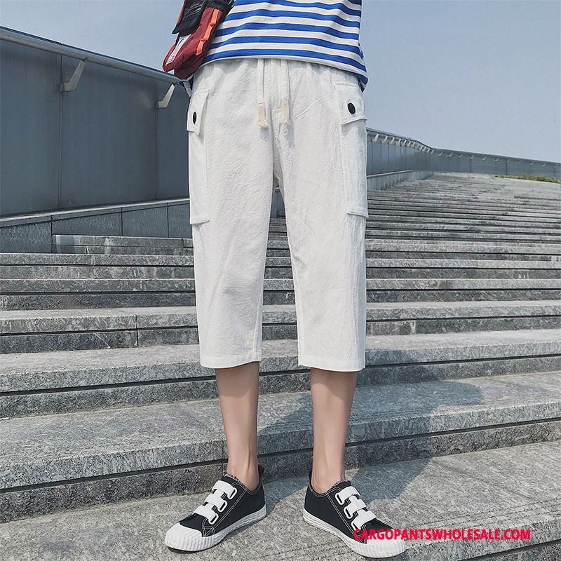 Capri Pants Male Black Tide Capri Pants Men Leisure Solid Color Summer