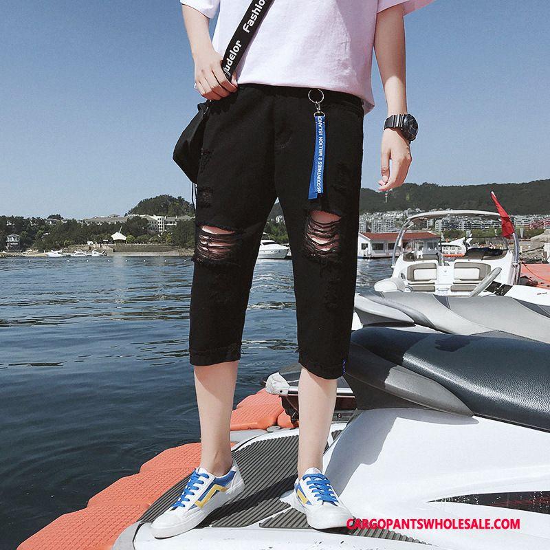 Capri Pants Male Black Trend Thin Section Men Hole Cowboy Shorts