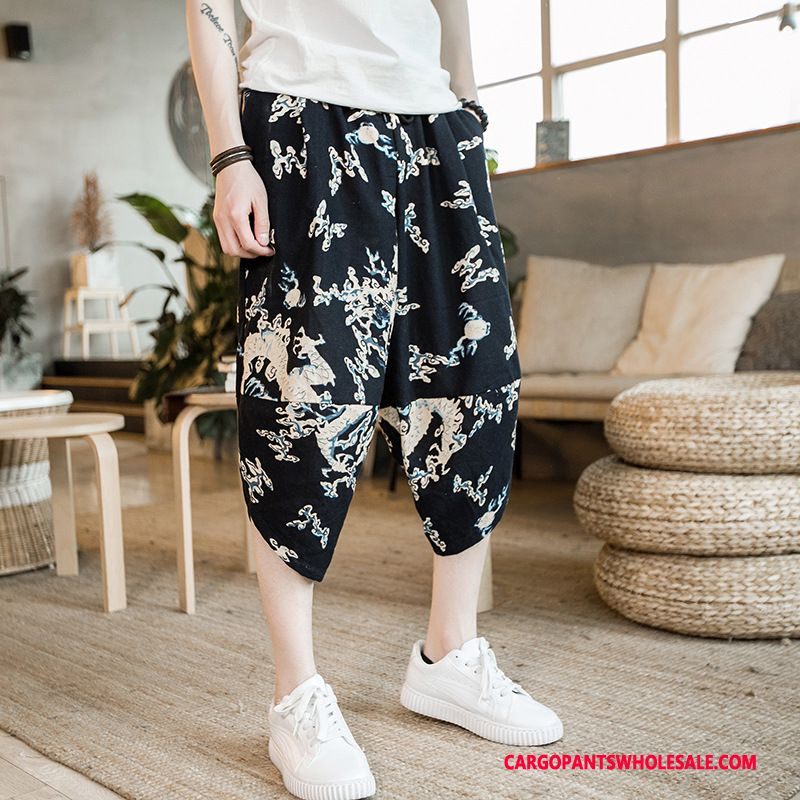 Capri Pants Male Blue Capri Pants Cotton And Linen Large Size Chinese Style Embroidery