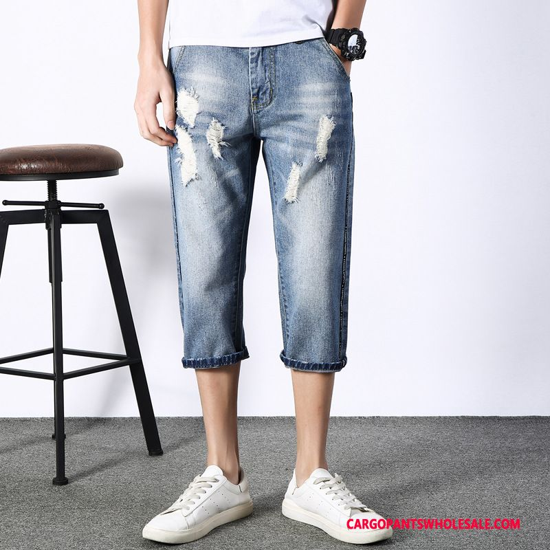 Capri Pants Male Blue Capri Pants Shorts Men Trend Summer Cowboy