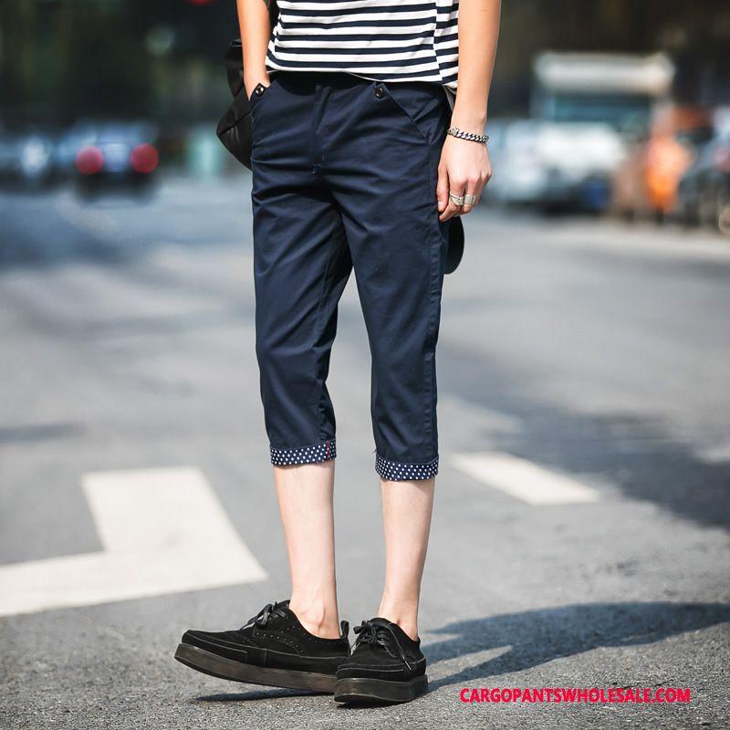 Capri Bukser Mænd Blå Slim Fit Ny Herre Sommer Sport Trend