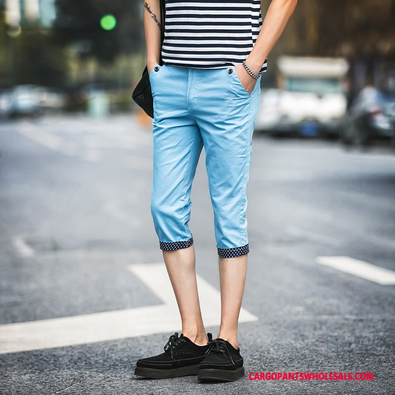 Capri Pants Male Blue Casual Pants Fashion Men Slim Fit The New Cotton