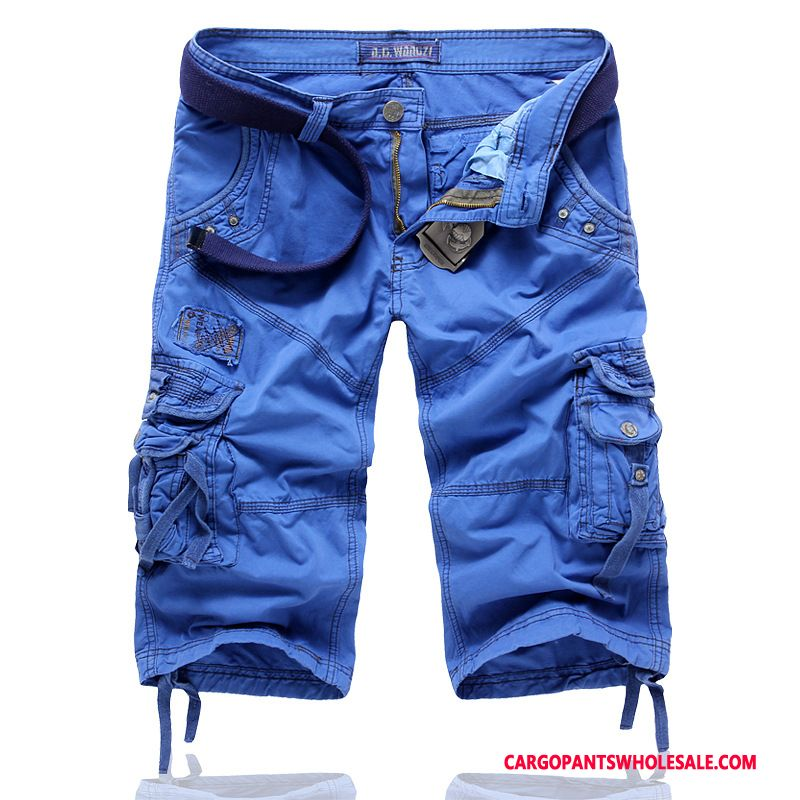 Capri Pants Male Blue Large Size Boutique Men Cotton Leisure Cargo Pants