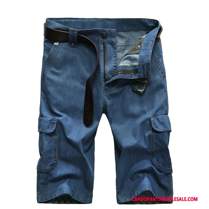 Capri Pants Male Blue Loose Shorts Men Large Size Medium Summer