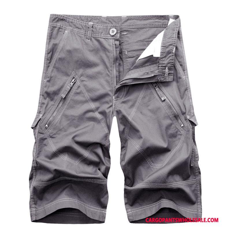 Capri Pants Male Blue Pants Multi-pocket Men Capri Pants Shorts Cargo