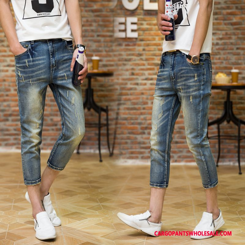 Capri Pants Male Blue Slim Fit Elastic Force Small Large Size Pants