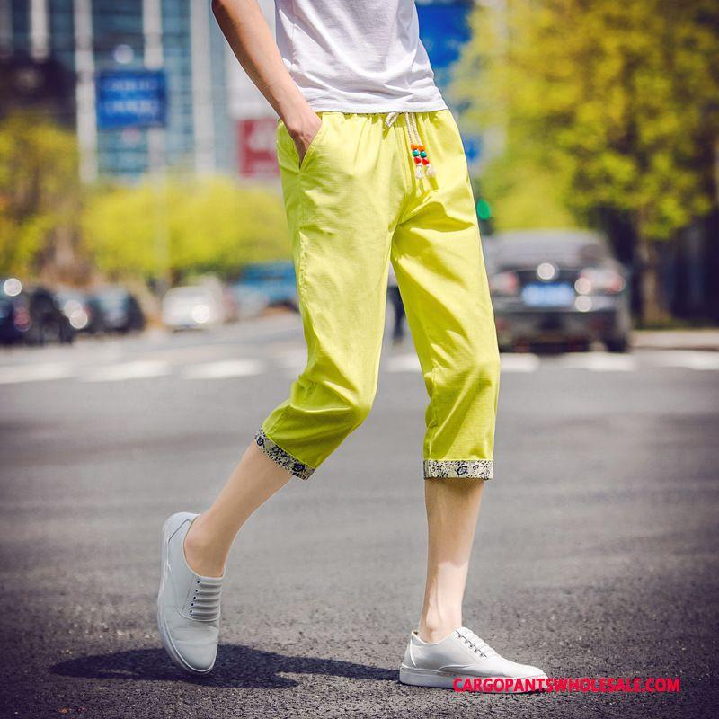 Capri Pants Male Blue Slim Fit Pants Men Large Size Summer Trend
