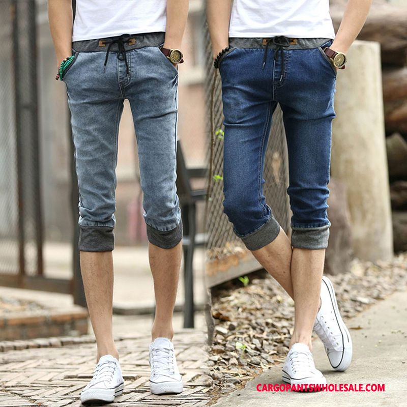 Capri Pants Male Blue Summer Cowboy Men Elastic Force Slim Fit Small