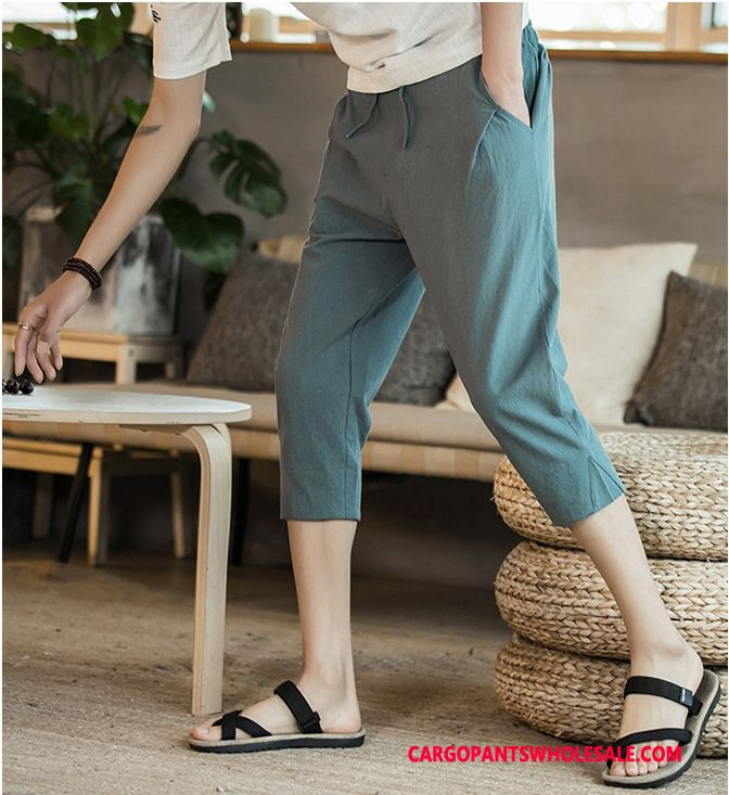 Capri Pants Male Blue Summer The New Shorts Harlan Casual Pants
