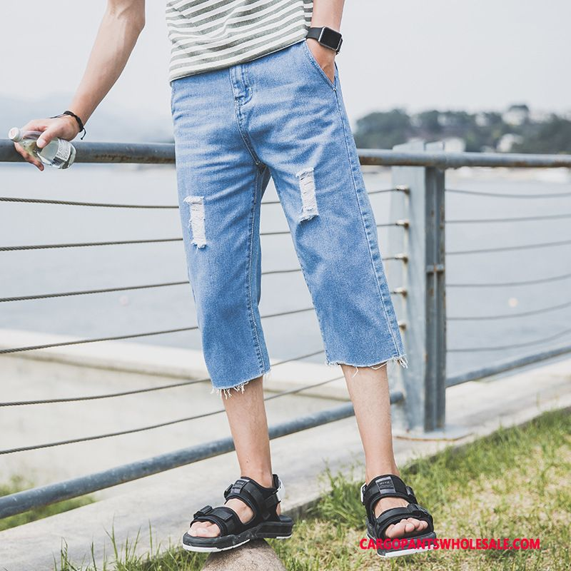 Capri Pants Male Blue The New Hole Men Shorts Pants Cowboy