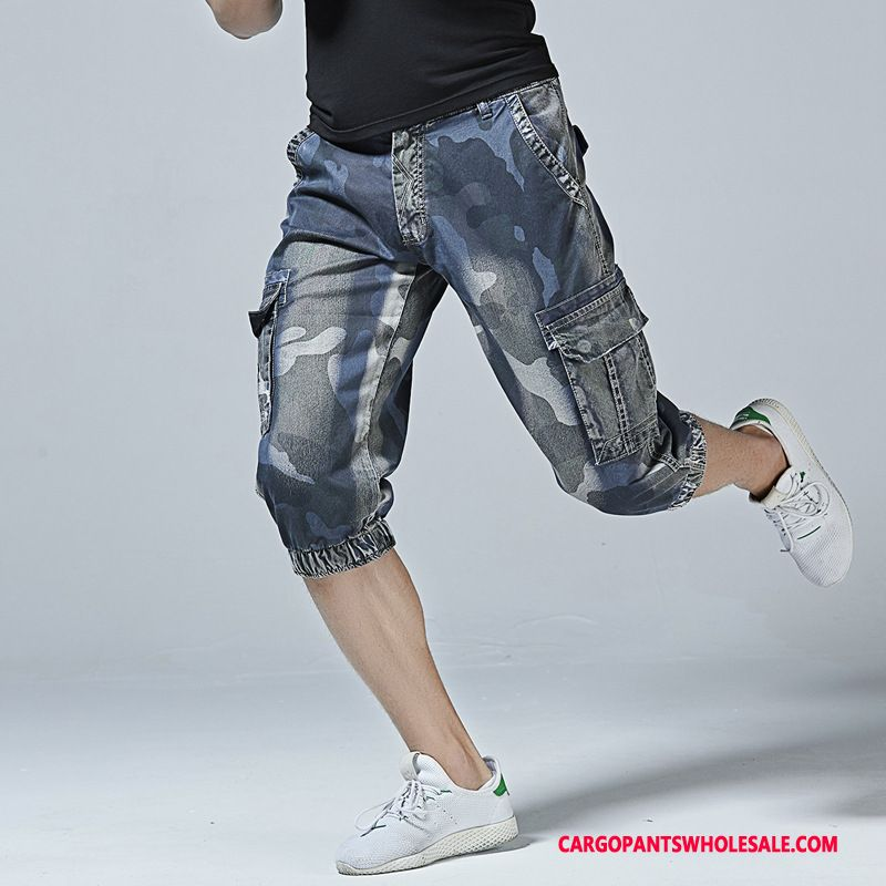 Capri Pants Male Camouflage Blue Medium Pants Men Cowboy Cargo Leisure