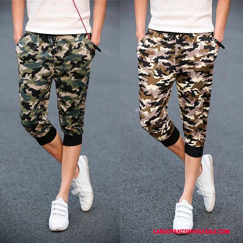 Capri Pants Male Camouflage Green Summer Pants Cargo Pants Capri Pants Leisure