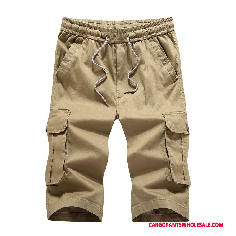 Capri Pants Male Camouflage Khaki Green Cargo Pants Solid Color Men Men Straight Thin Large Size