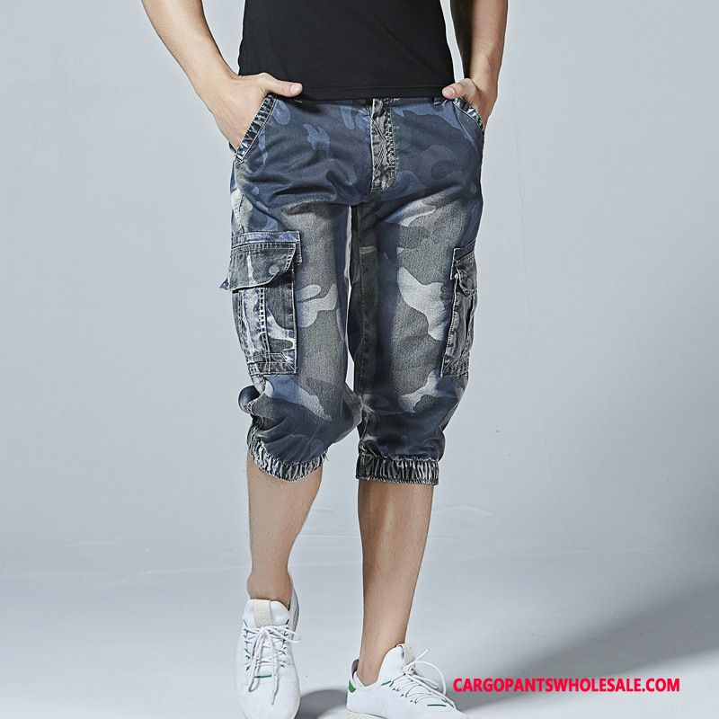 Capri Pants Male Camouflage Shorts Fashion Capri Pants Cargo Multi-pocket